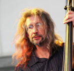 Peter Morgan, double bass player at the Brecon Jazz Festival.